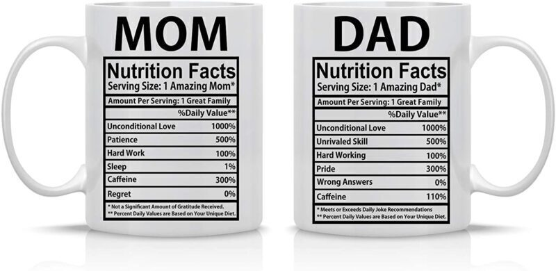 Mom & Dad Nutritional Facts Mugs