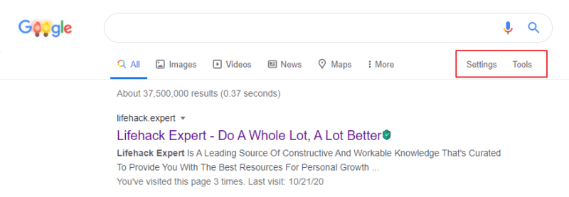 The first impression of the Google Search Engine Results Page or (SERP)