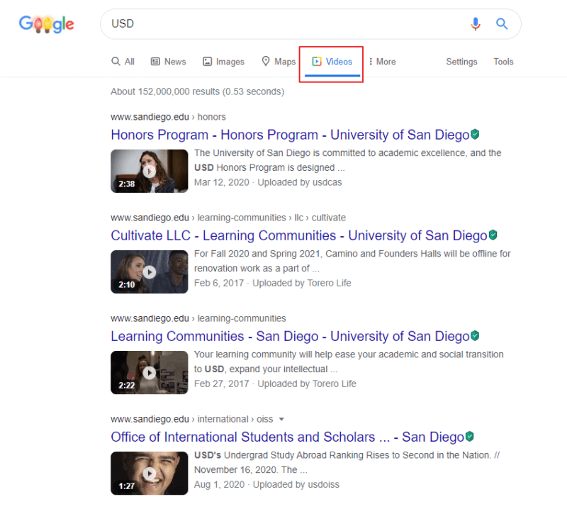 Google video search built-in options