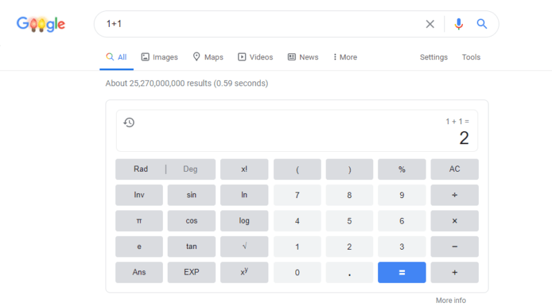 Using Google search bar as your calculator