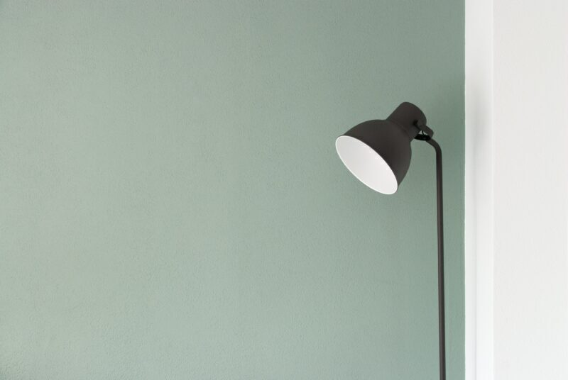 Floor Lamp in a twin colored wall corner