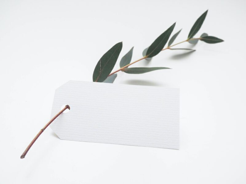 White price tag attached to a leaf twig